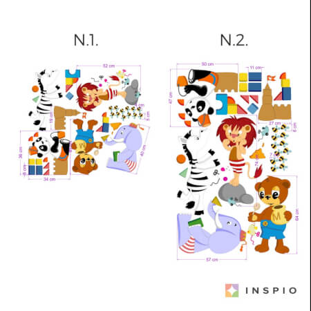 Stickers muraux - Animaux qui jouent
