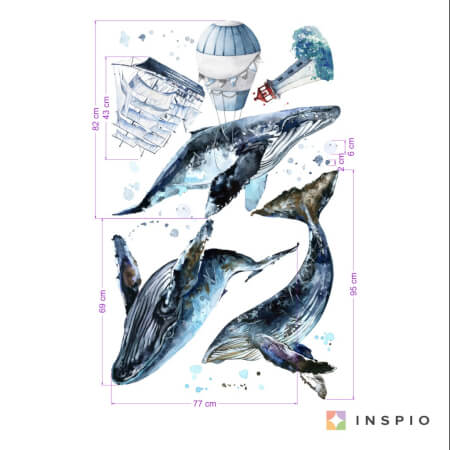BALEINES - stickers muraux pour chambre